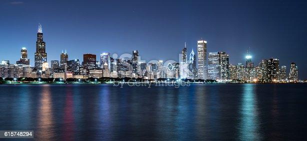 Chicago Night Skyline across Lake Michigan