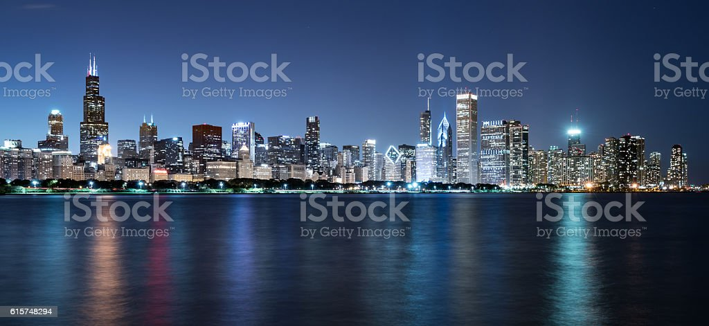 Chicago Night Skyline stock photo