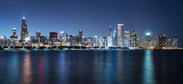 Chicago Night Skyline stock photo