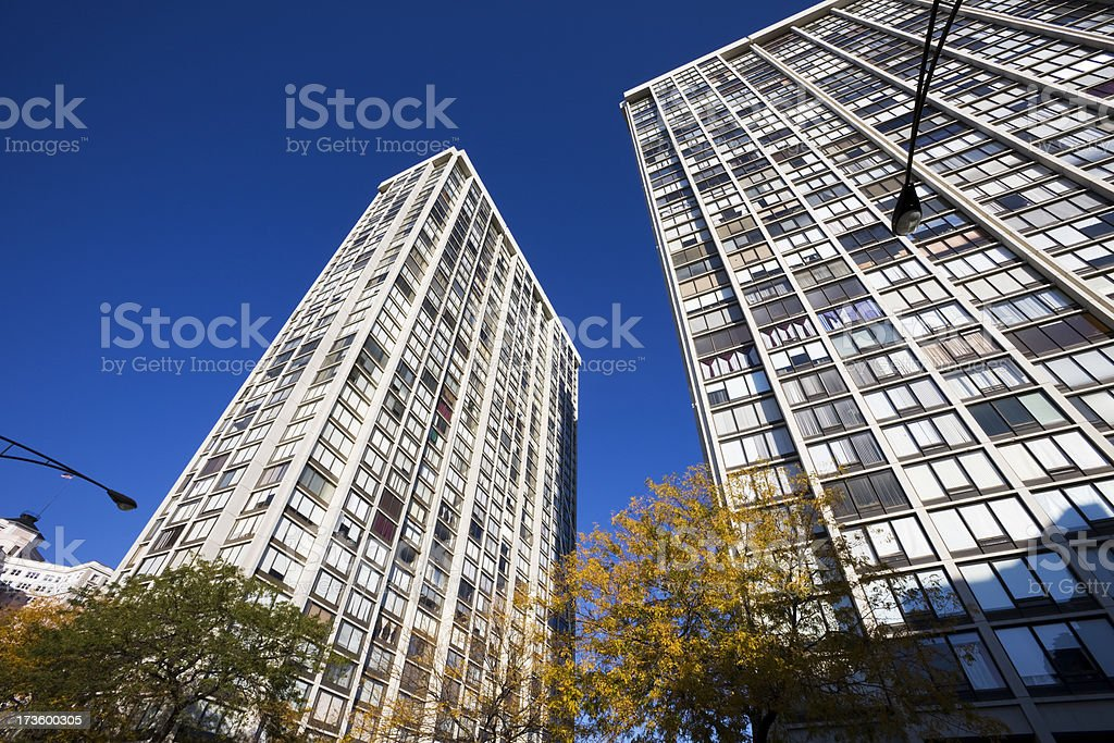 Chicago North Side Apartments from Below stock photo