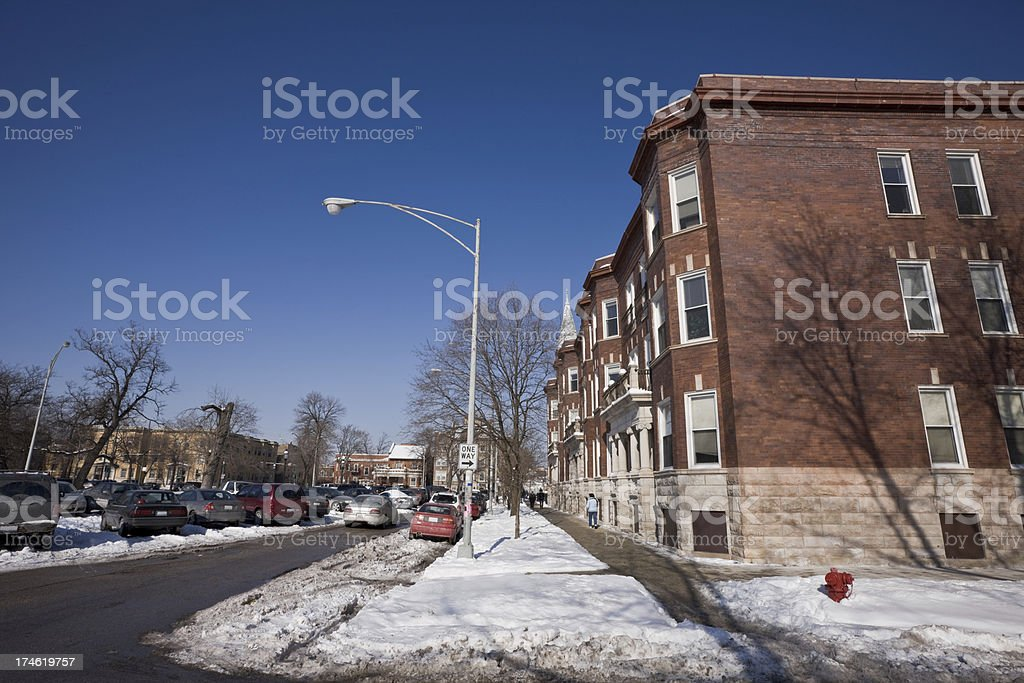 Chicago North Side Winter Street royalty-free stock photo