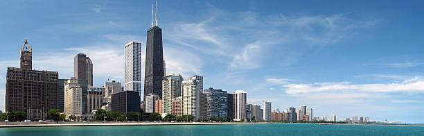 panorama de la ciudad de chicago north - edificio hancock chicago fotografías e imágenes de stock