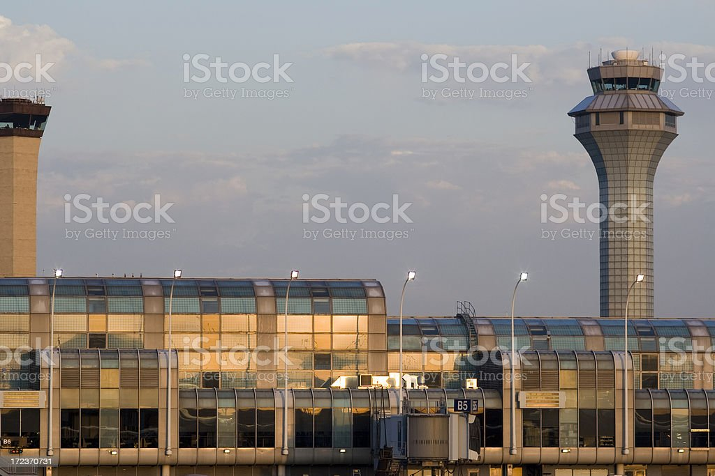 Chicago O'Hare at sunset royalty-free stock photo