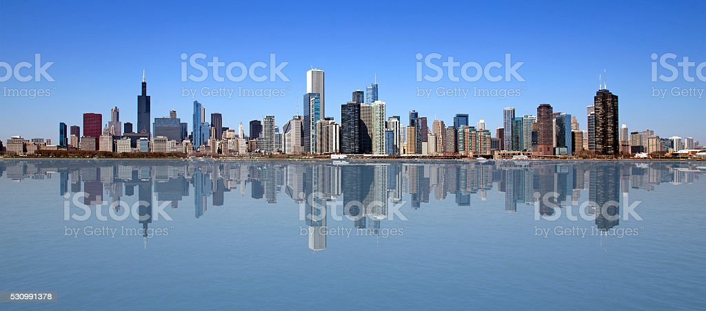 Chicago on a perfect day stock photo