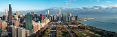 Full panoramic view of Chicago metropolis, city located in the USA