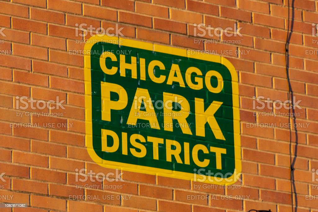 Chicago Park District signage stock photo