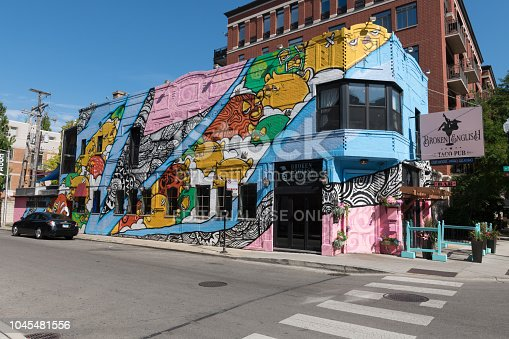 Chicago, USA - Aug 1, 2018: Late in the day the colorful Broken English Taco Pub in Old town.