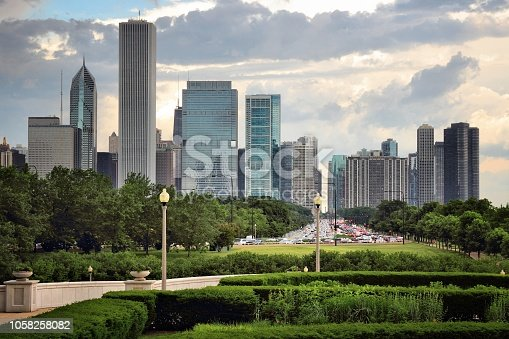 Chicago skyline seen from Grant Park. Sunset city view.