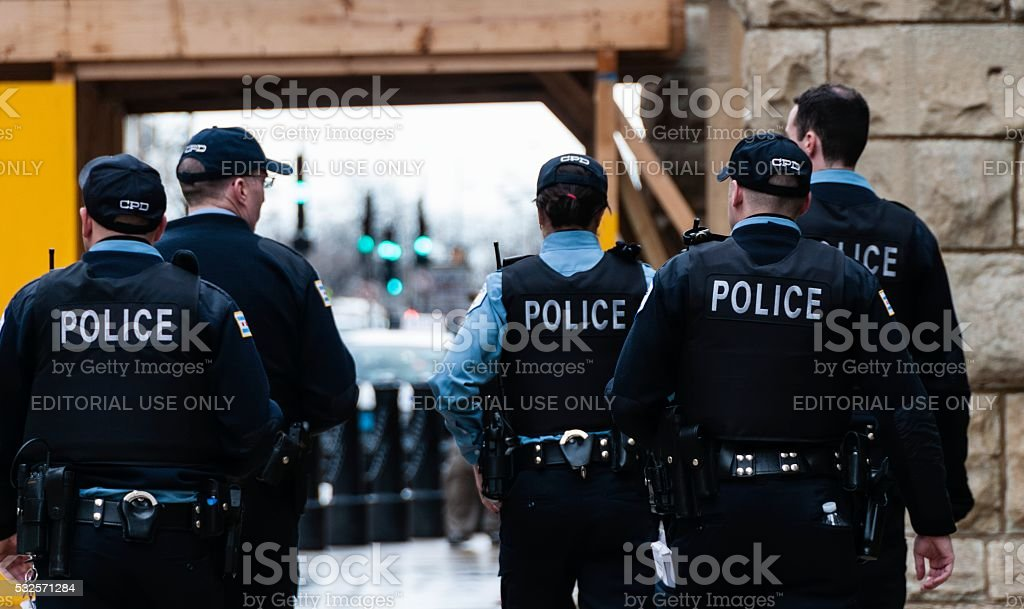 Chicago Police Officers On Patrol stock photo