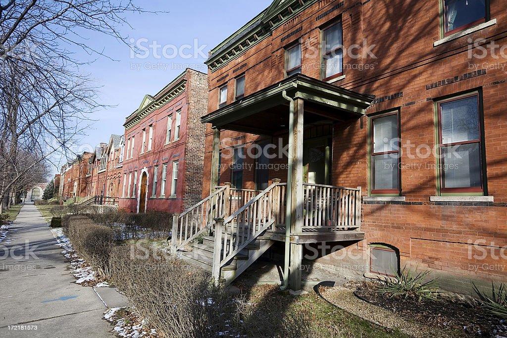 Chicago Pullman  Neighborhood Houses royalty-free stock photo