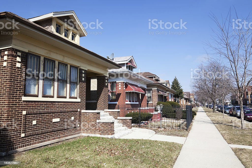 Chicago residential street with Edwardian Bungalows stock photo