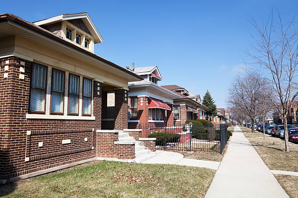 chicago residential street with edwardian bungalows - bungalow stock photos and pictures