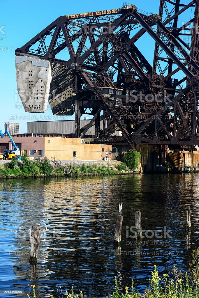 Chicago River and  Bridge with perched Heron stock photo