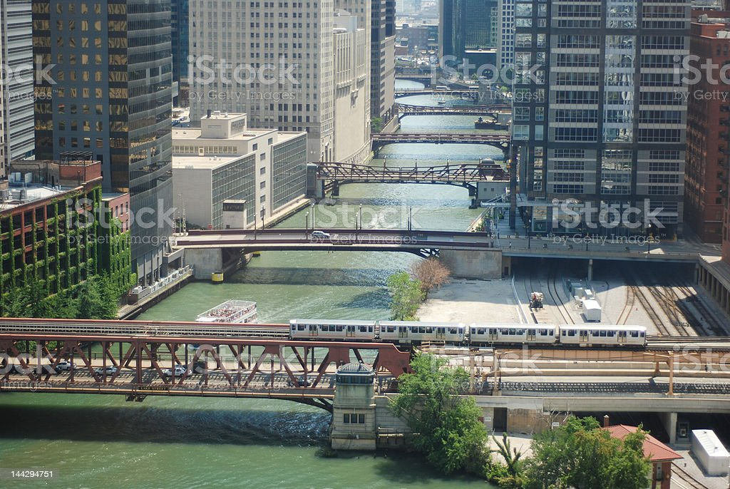 Chicago, river and bridges stock photo