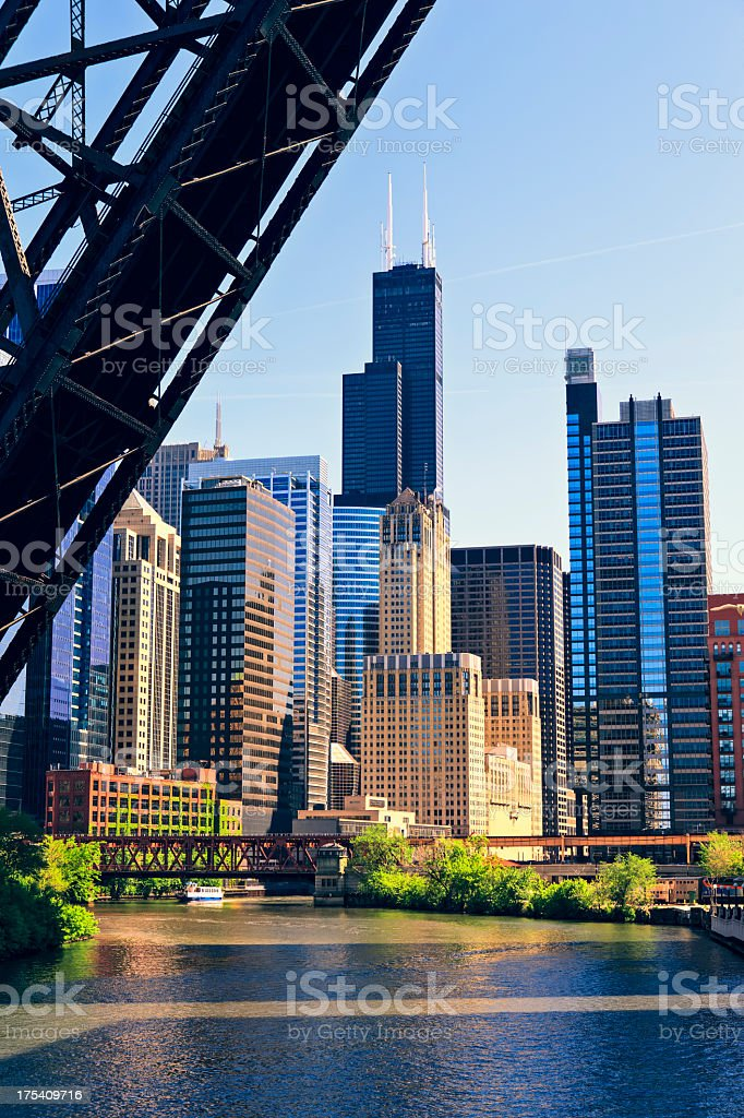 Chicago River and skyline, Illinois stock photo