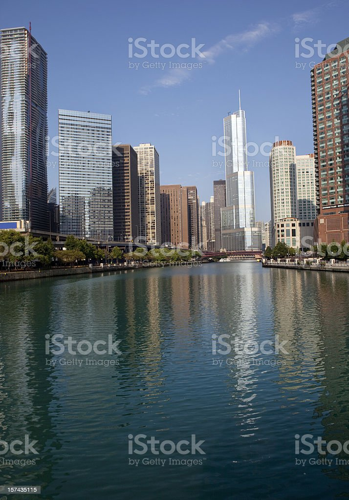 Chicago River and Skyscrapers in Downtown District stock photo