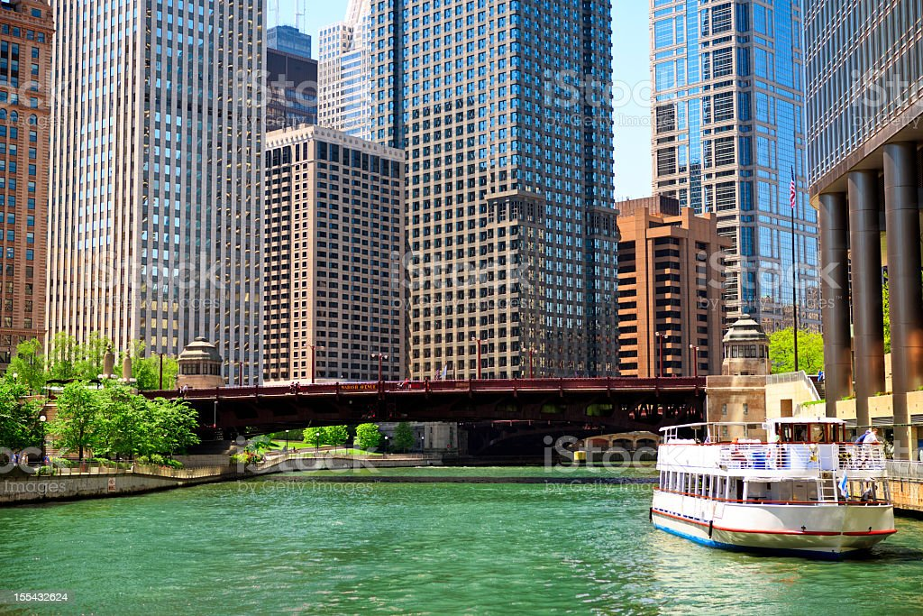 Chicago River and skyscrapers stock photo