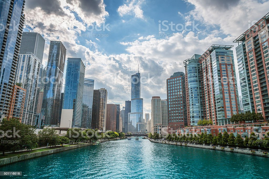 Chicago River and skyscrappers stock photo