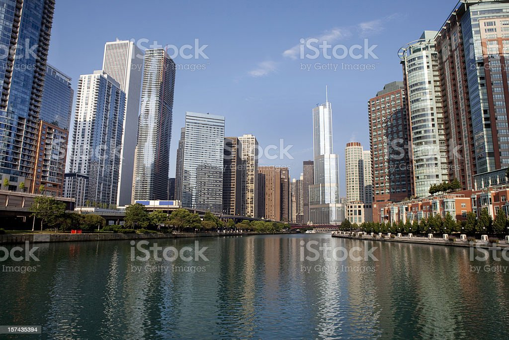 Chicago River and Syscrapers stock photo