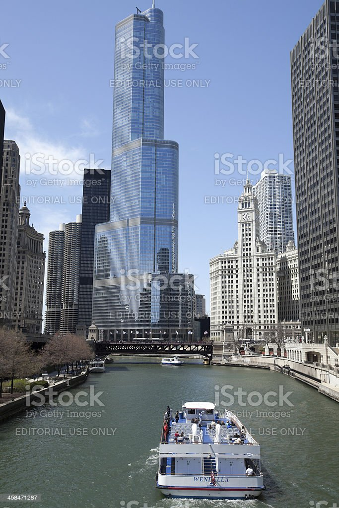 Chicago River and Tour Boat stock photo
