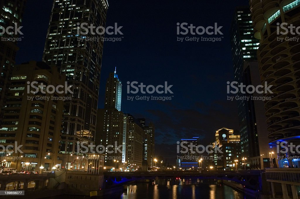 Chicago river at night royalty-free stock photo
