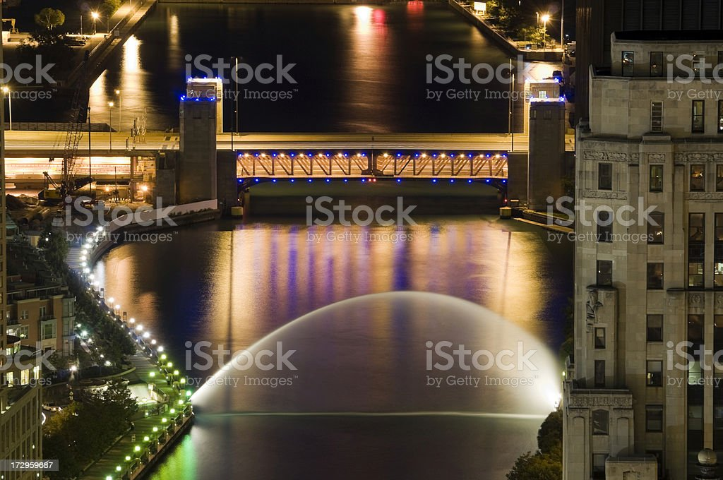 Chicago River at Night stock photo