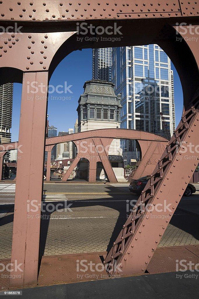 Chicago River bridge and Bridgehouse stock photo