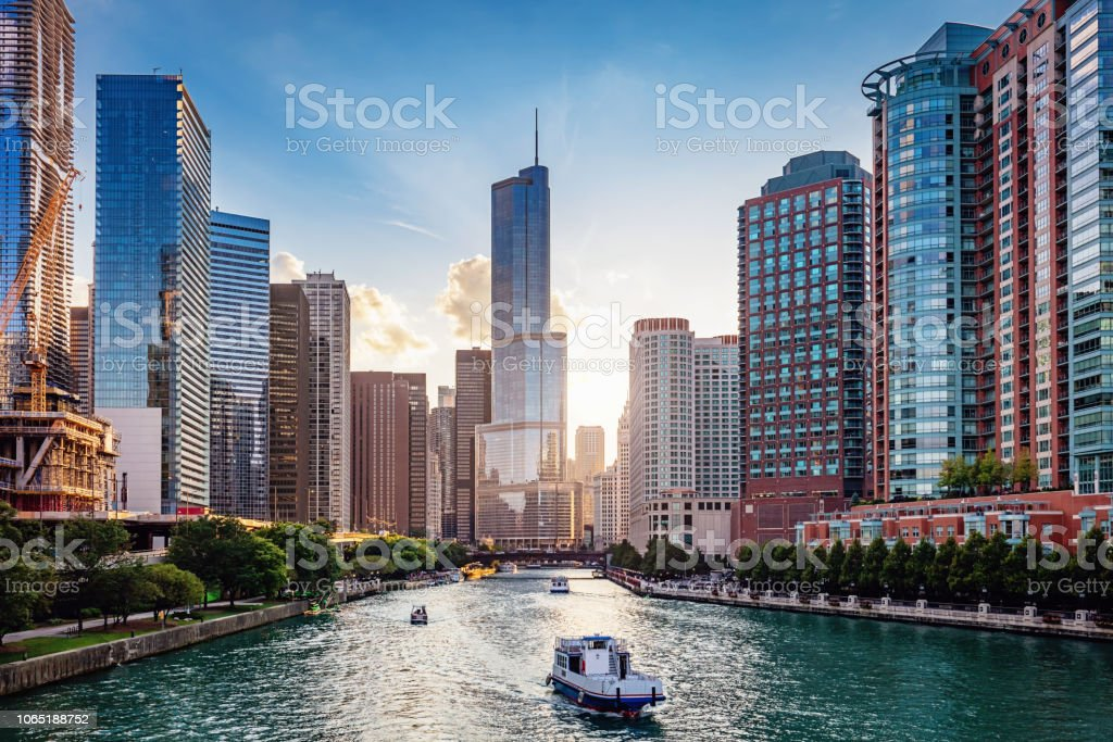 Chicago River Cityscape at Sunset stock photo