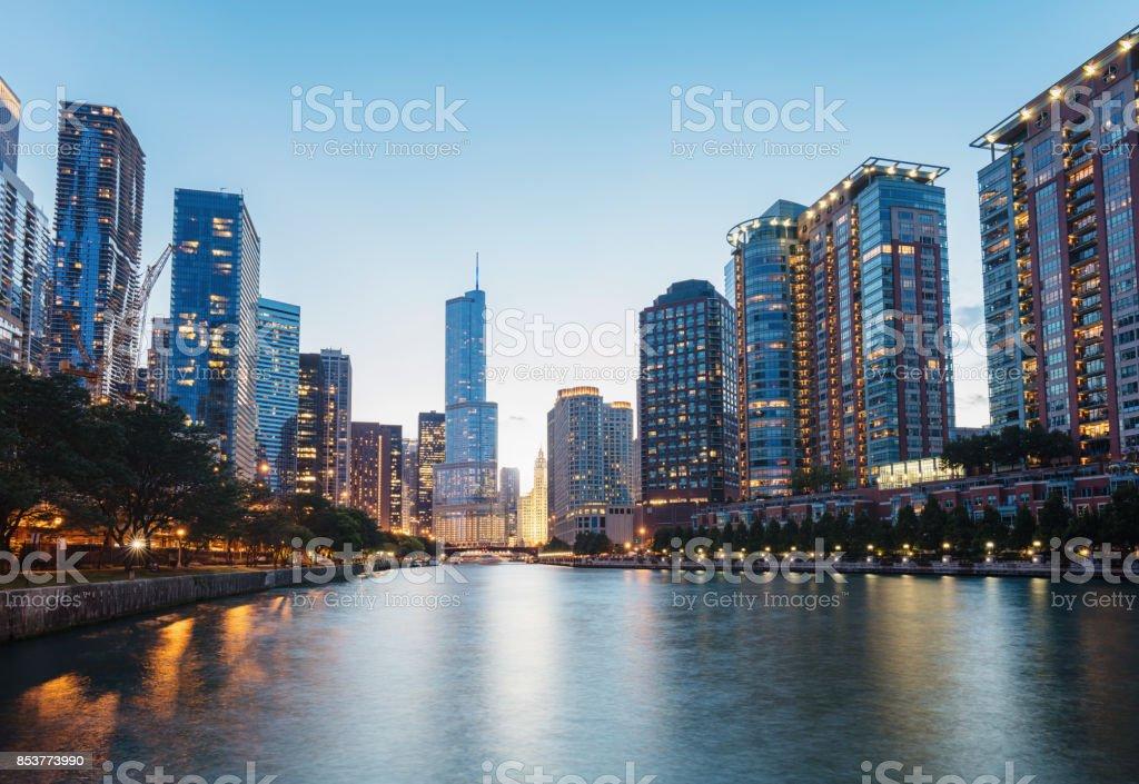 Chicago River Cityscape Twilight Dusk stock photo