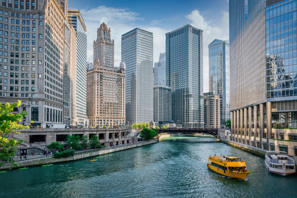 Chicago River Cityscape Water Taxi Tourboat Cruising in Summer stock photo