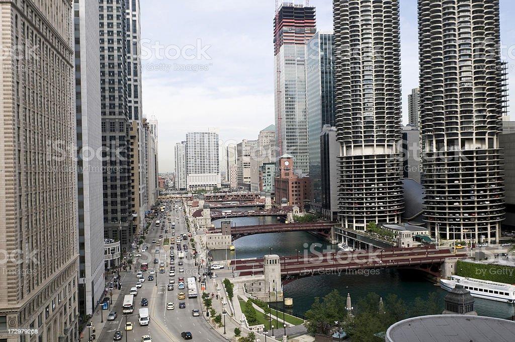 Chicago River Corridor royalty-free stock photo