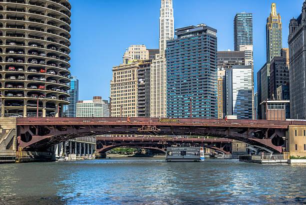 Chicago River Dearborn Street Bridge stock photo