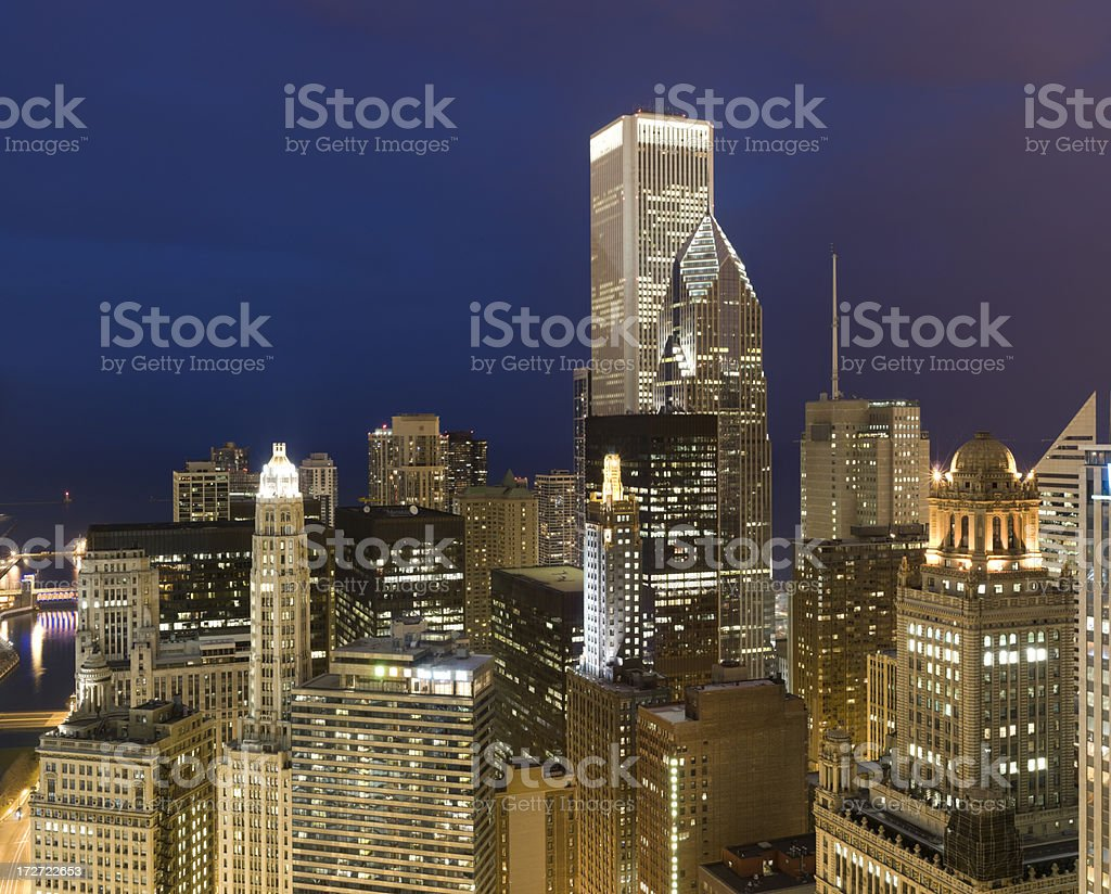 Chicago - River East Aerial at Dusk (XXXL) stock photo