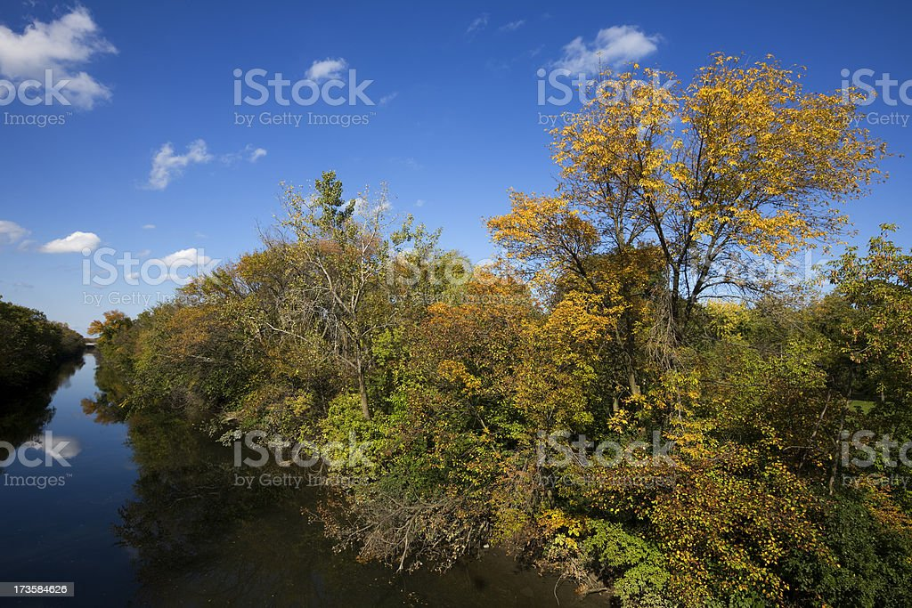 Chicago River Fall Landscape royalty-free stock photo