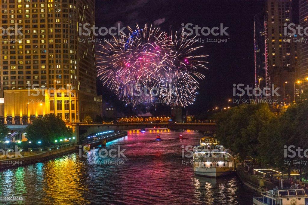 Chicago River Fireworks stock photo