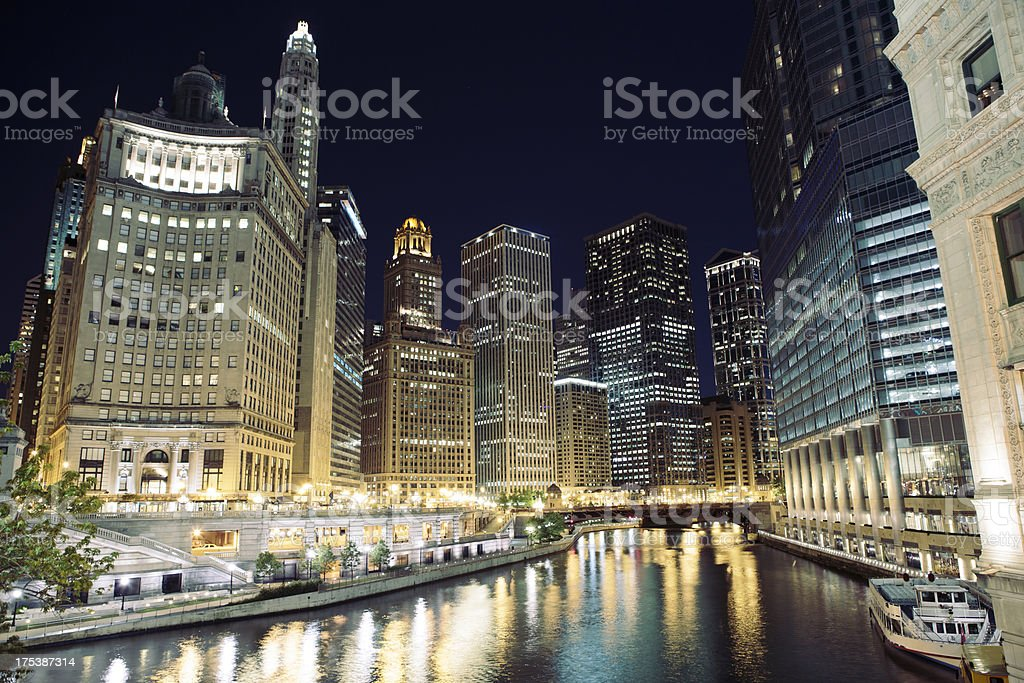 Chicago River from Michigan Avenue at night stock photo