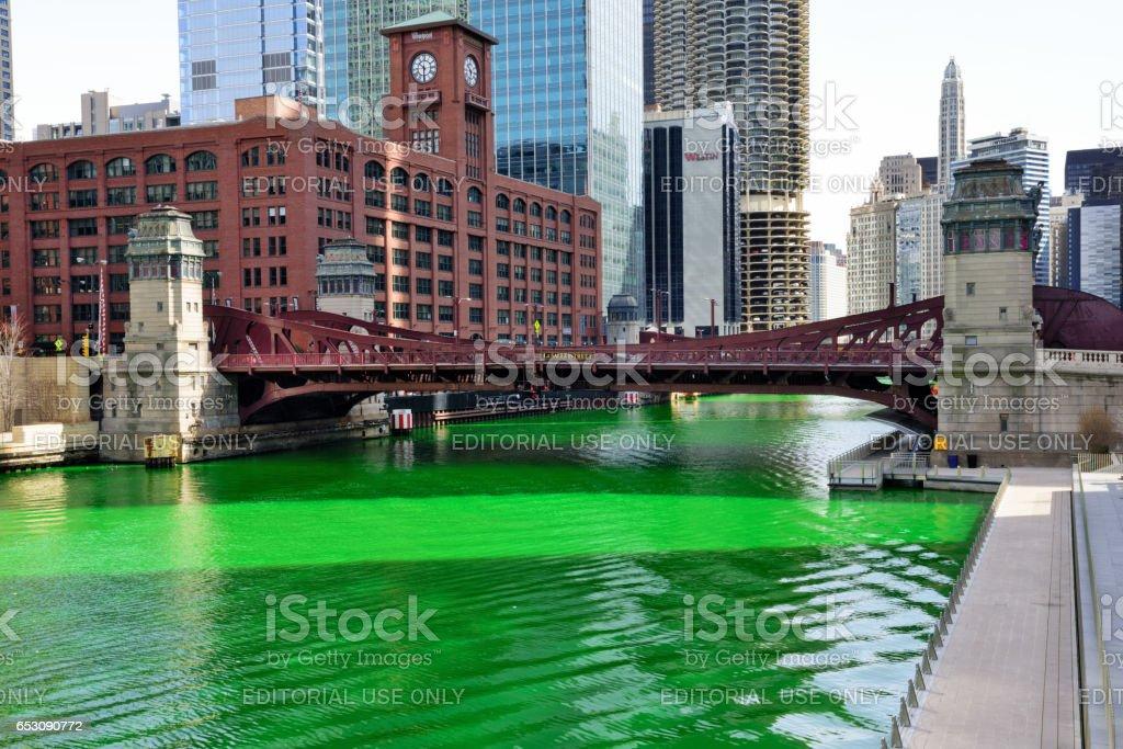 Chicago River, Green for St. Patricks Day Celebration stock photo