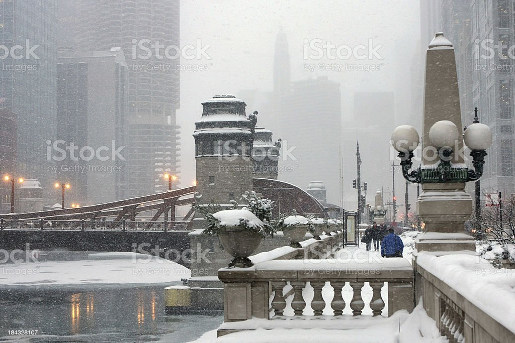 Chicago River in Winter stock photo