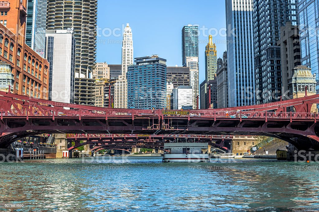 Chicago River LaSalle Street Bridge stock photo