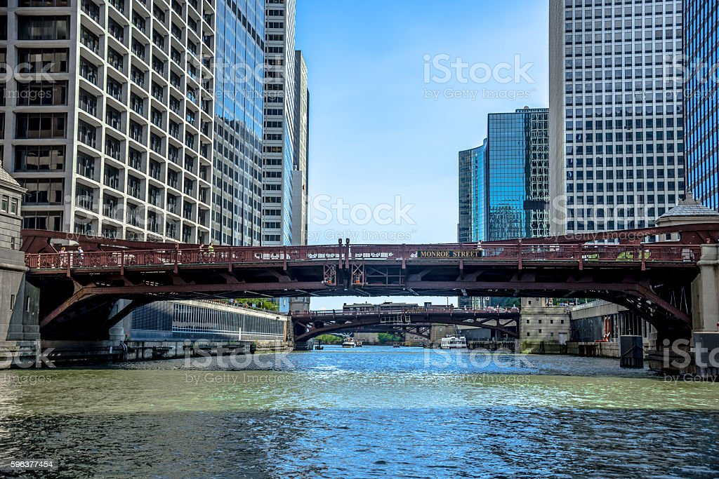 Chicago River Monroe Street Bridge stock photo