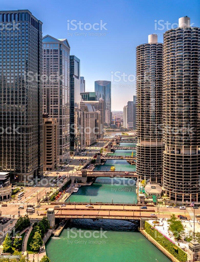 Chicago River stock photo