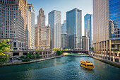 istock Chicago River Tourboat Downtown Chicago Skyscrapers 1139456318