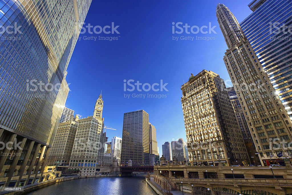 Chicago River Walk stock photo