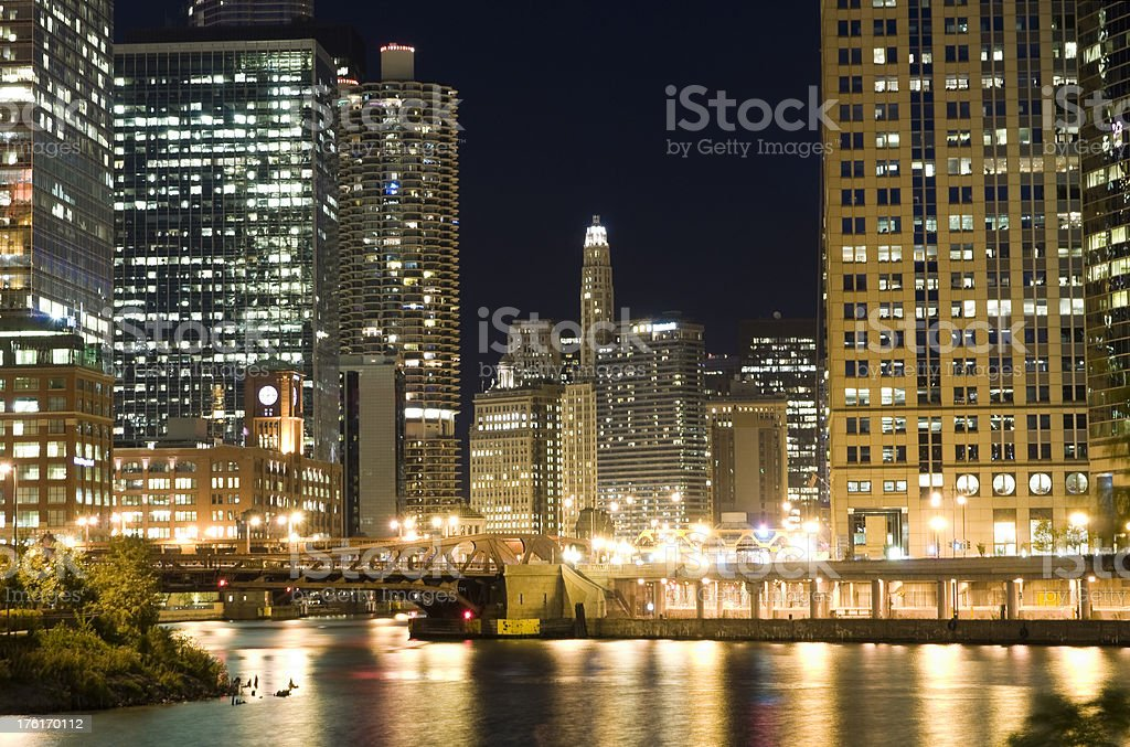 Chicago Riverfront at Night stock photo