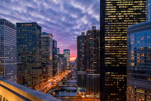 Beautiful Sunset over Chicago Riverwalk - Cityscape