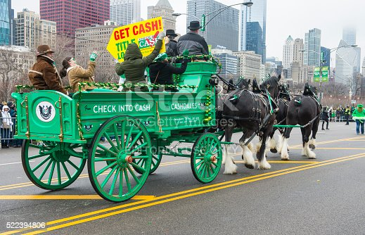 Chicago , USA - March 16, 2013 : Participants at the annual Saint Patrick's Day Parade in Chicago