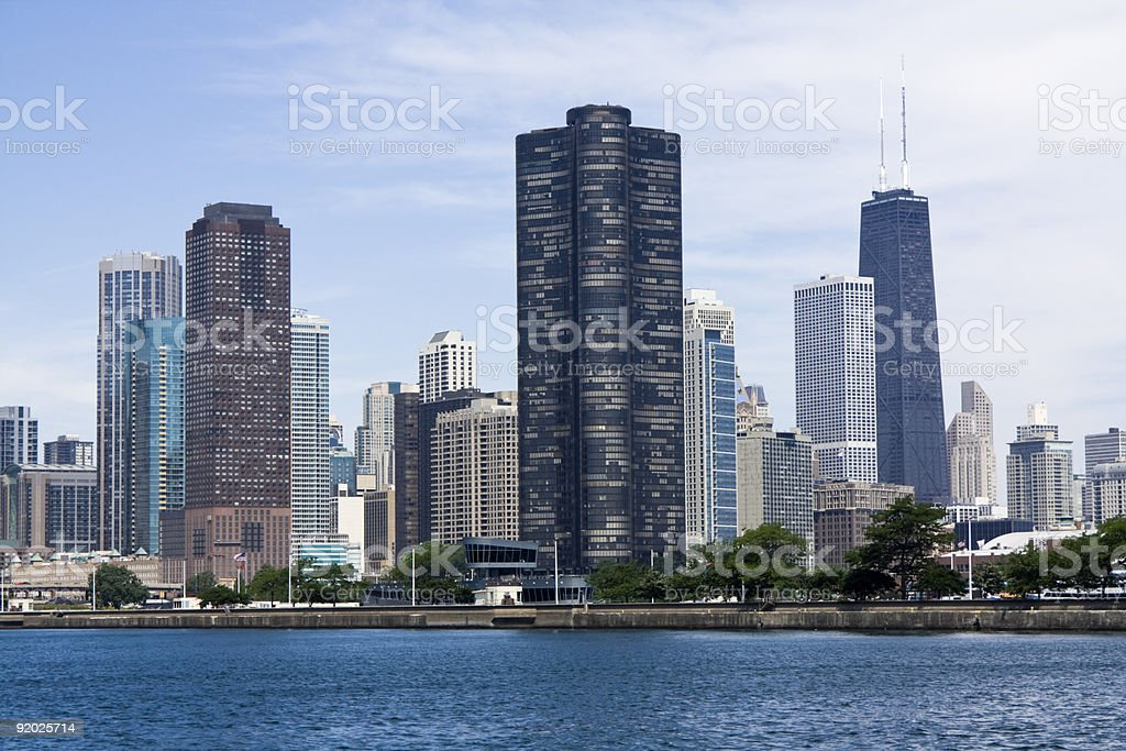 Chicago seen from Lake Michigan stock photo