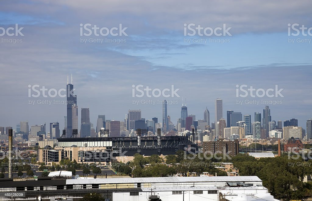 Chicago seen from South Side stock photo