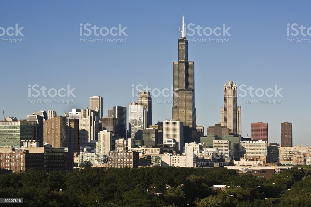 Chicago seen from west side stock photo