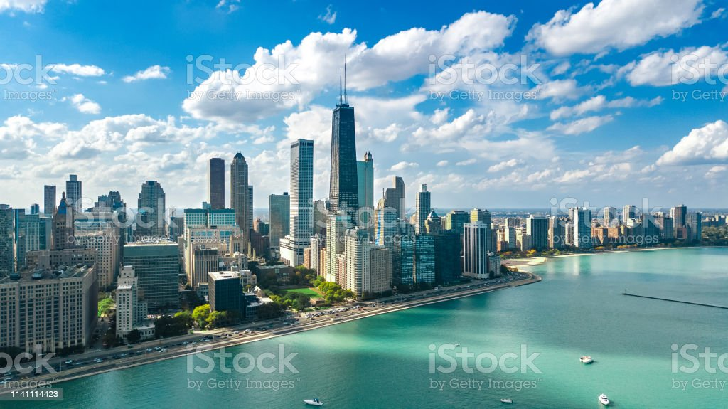 Chicago skyline aerial drone view from above, lake Michigan and city of Chicago downtown skyscrapers cityscape, Illinois, USA Chicago skyline aerial drone view from above, lake Michigan and city of Chicago downtown skyscrapers cityscape, Illinois, USA Aerial View Stock Photo
